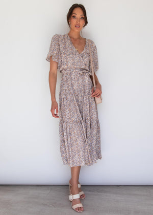 Cupid Midi Dress - Beige Cheetah