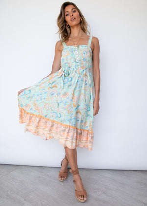 Chasing Colours Midi Dress - Honeydew