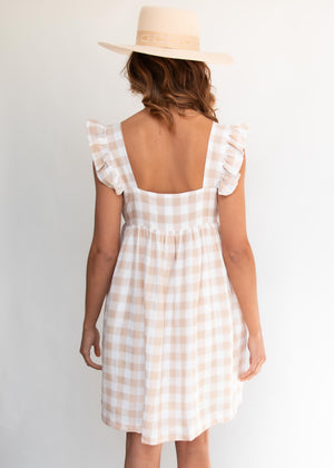 Karolina Dress - Beige Gingham