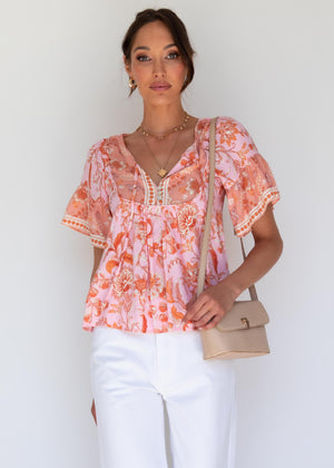 Adalin Blouse - Coral Kisses