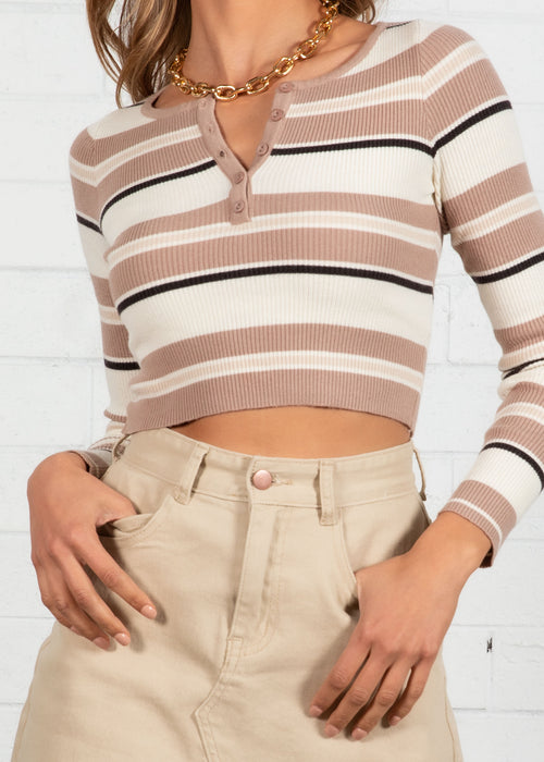 Let's Play Knit Top - Tan Stripe