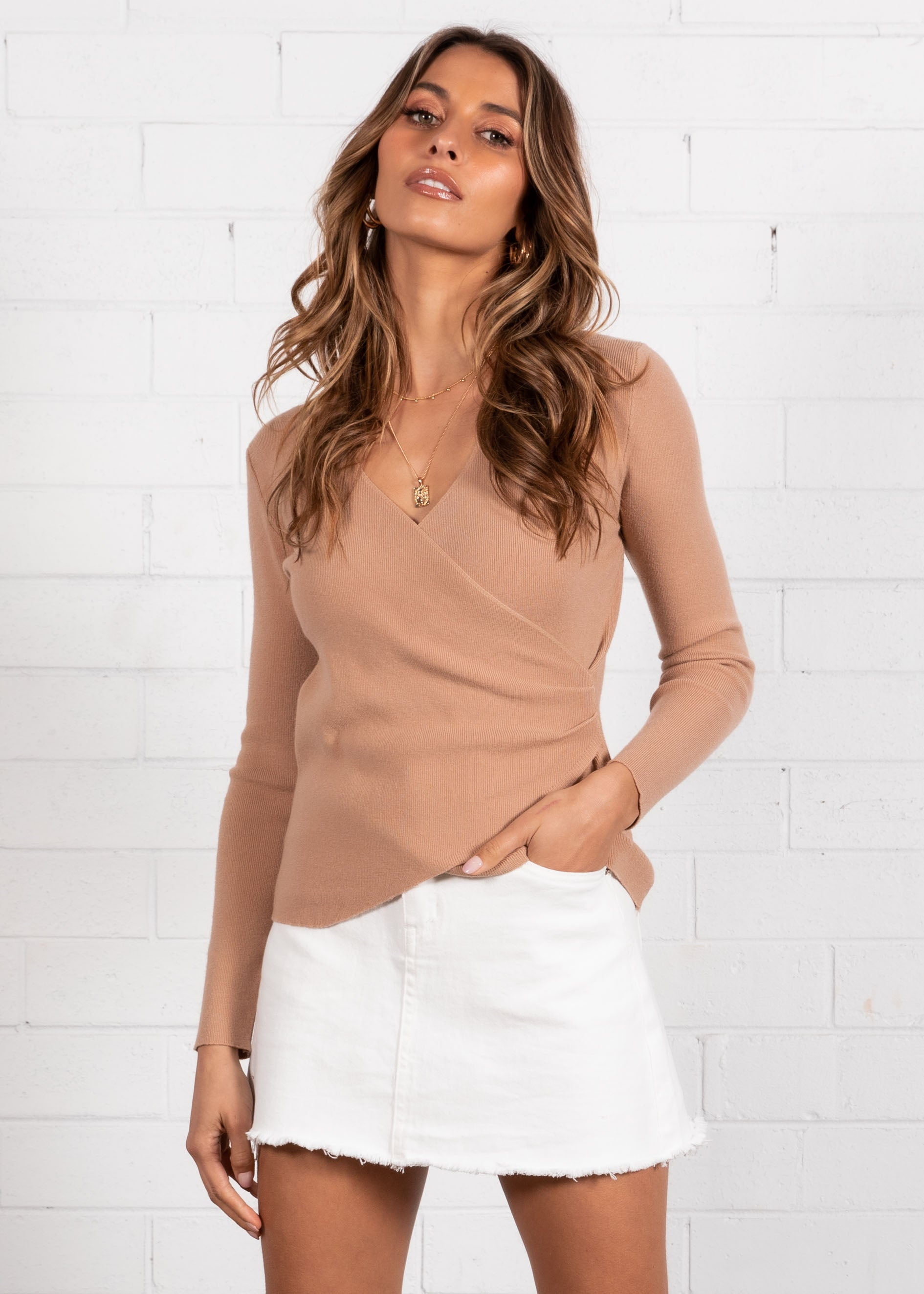 Foundations Crossover Knit Top - Tan