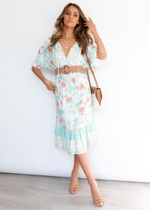 Oceanside Midi Dress - Mint Floral
