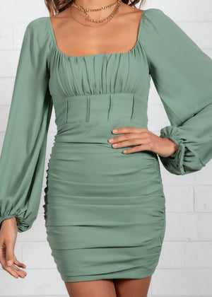 Silvia Ruched Dress - Khaki