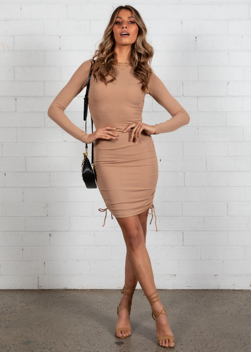 Kaylyn Ruched Knit Dress - Camel