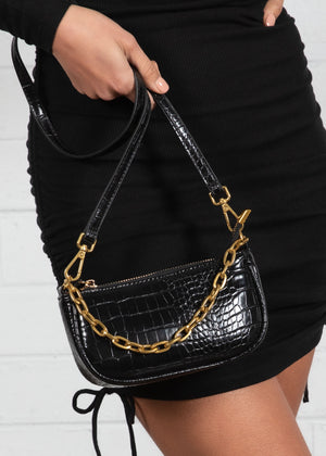 Wavy Mini Chain Bag - Black