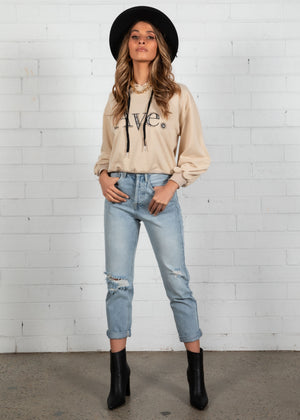 Ave Cropped Sweater - Beige