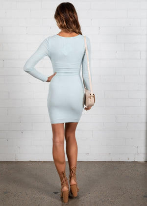Suntia Ruched Rib Dress - Light Blue