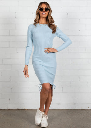 Nyssa Ruched Knit Dress - Blue
