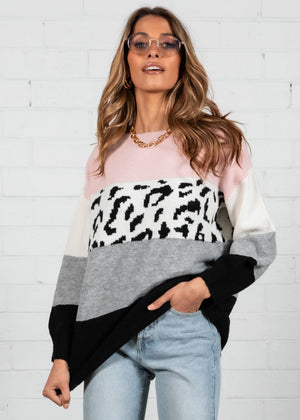 Wild World Sweater - Blush Leopard