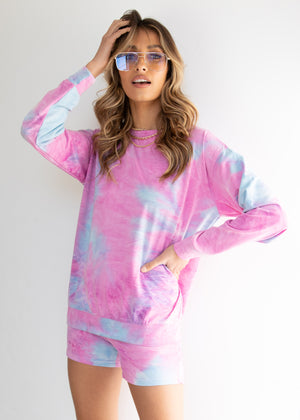 Bel Air Knit Set - Pink Tie Die