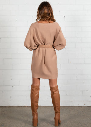 Ismene Sweater Knit Dress - Camel