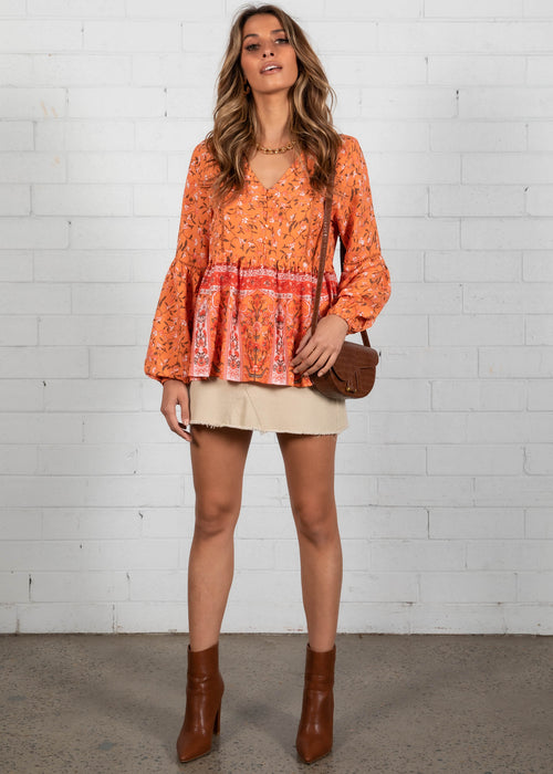 Skyline Blouse - Orange Sunrise