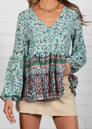 Skyline Blouse - Blue Floral