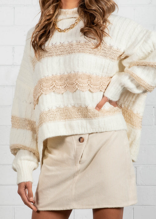 New Moon Crochet Sweater - Cream