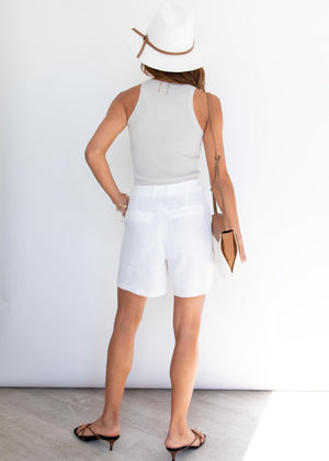 Navaeh Linen Shorts - White