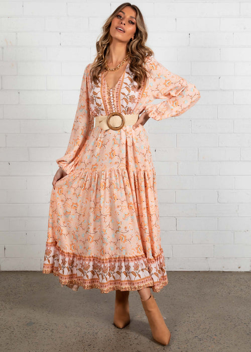Jewel Mountain Maxi Dress - Peach Floral