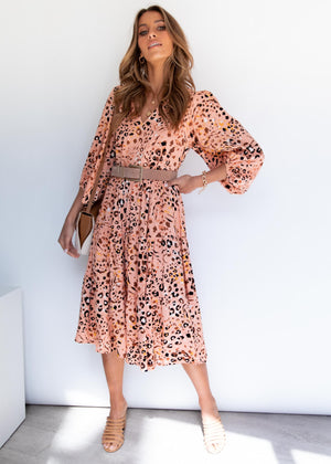 Napa Midi Dress - Peach Nara