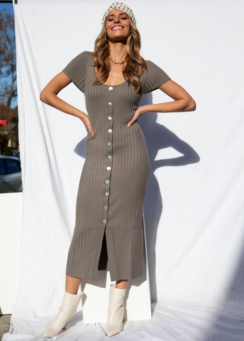 Take It Back Midi Dress - Khaki