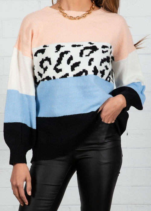 Wild World Sweater - Blue Leopard