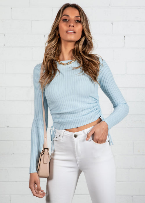 Turana Ruched Knit Top - Blue