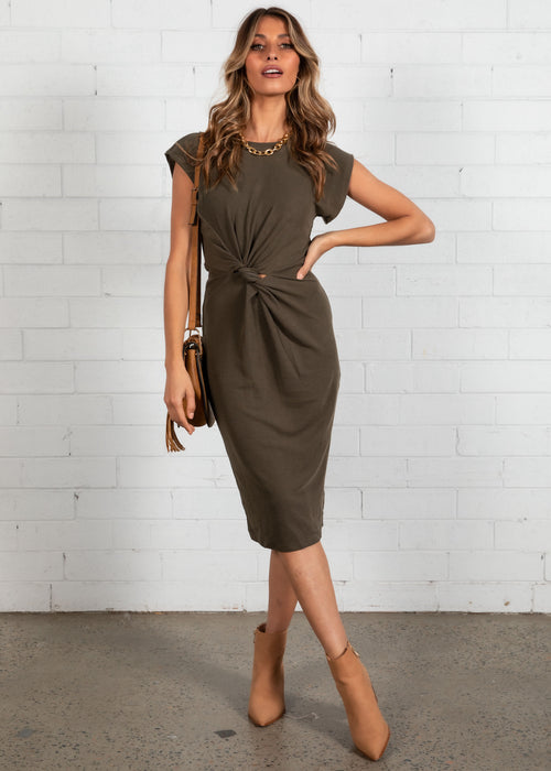 Magic Hour Midi Dress - Khaki