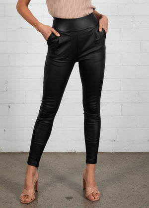 Candid Wax Coated Pants - Black