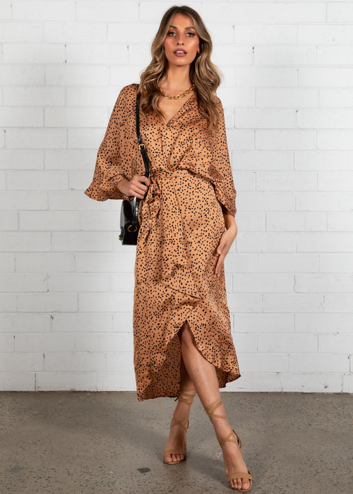 Slipping Away Midi Dress - Tan Spot