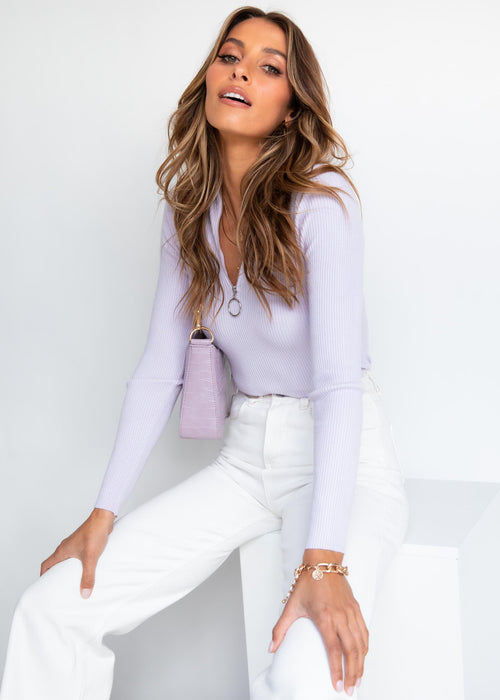 Soda Zip Knit Top - Lilac