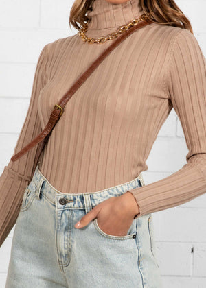 Bayley Rib Knit Top - Camel