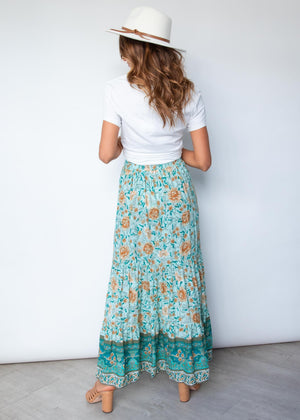 Sunseeker Maxi Skirt - Emerald Floral