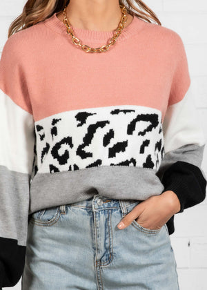 Warm Nights Sweater - Rose Leopard