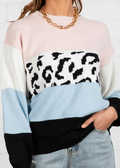 Warm Nights Sweater - Multi Leopard
