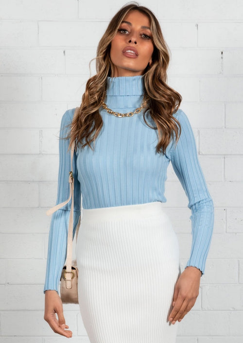 Bayley Rib Knit Top - Blue