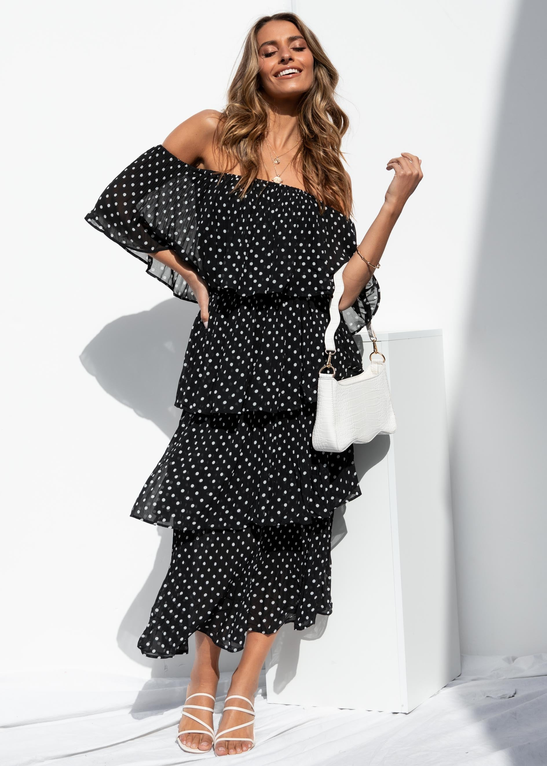 London Sisters Midi Dress - Black Polka