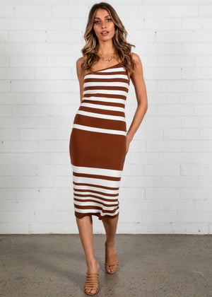 Danger Zone Knit Midi Dress - Espresso