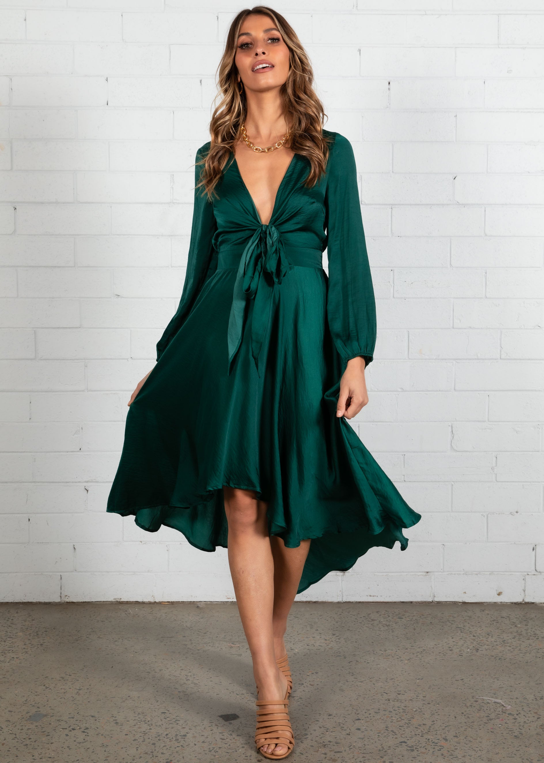 Namisha Hi-Lo Midi Dress - Emerald