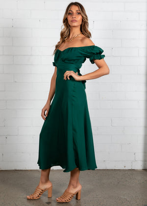 Midnight Dancer Midi Dress - Emerald