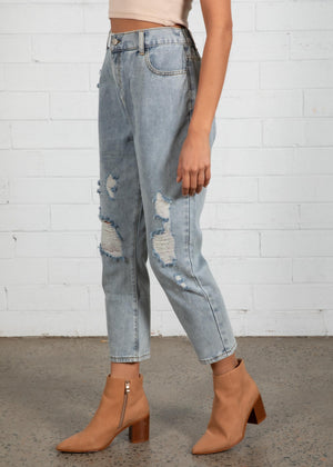 Lenny Elastic Jeans - Faded Blue