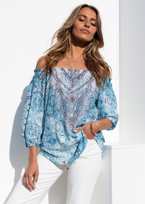 Aries Off Shoulder Blouse - Beach Blue