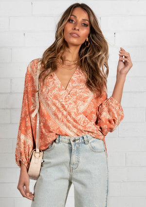 Ellis Blouse - Rust Floral