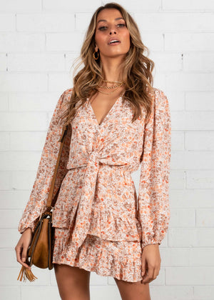 Danbury Dress - Peach Floral