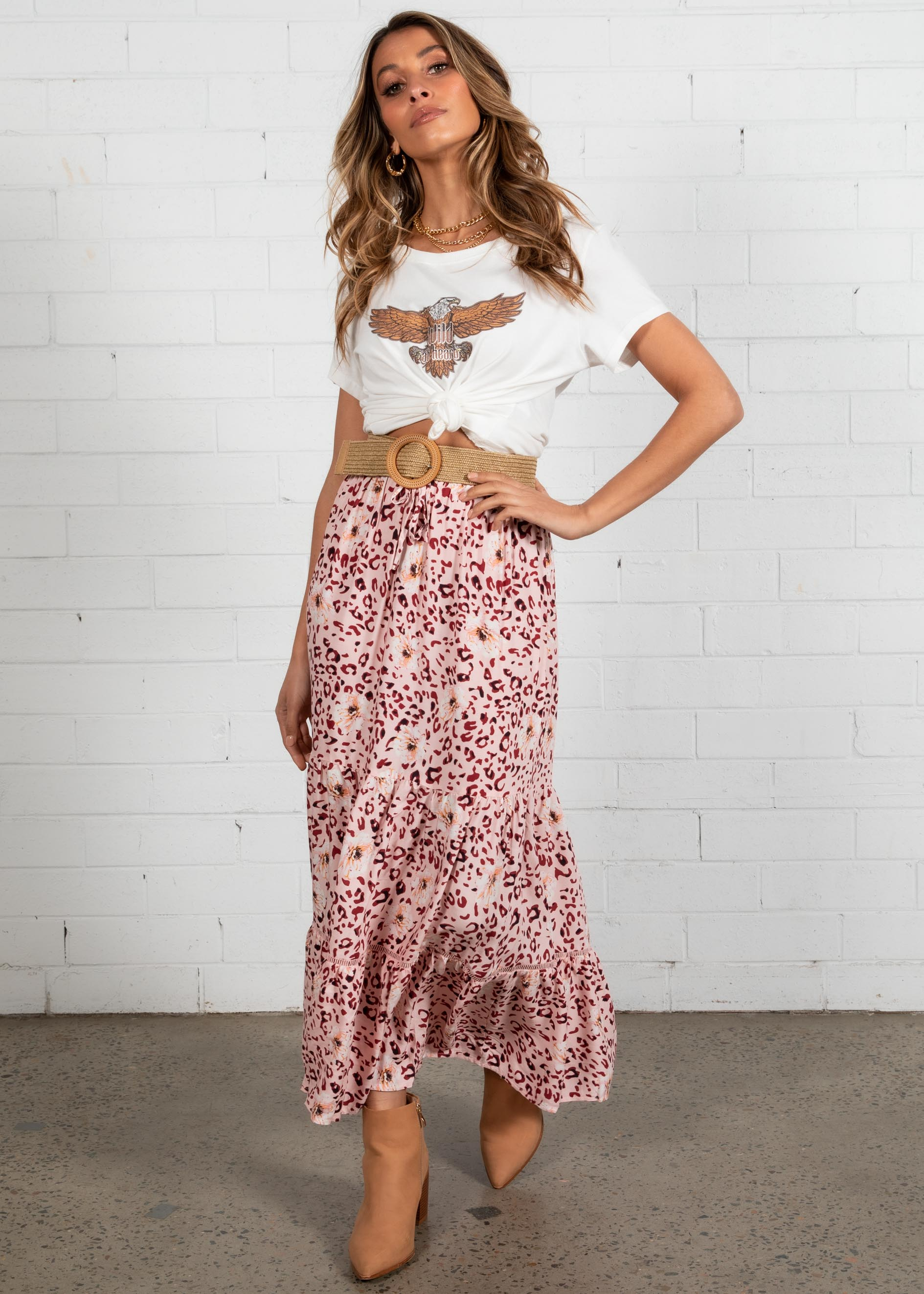 Sunseeker Maxi Skirt - Blush Leopard