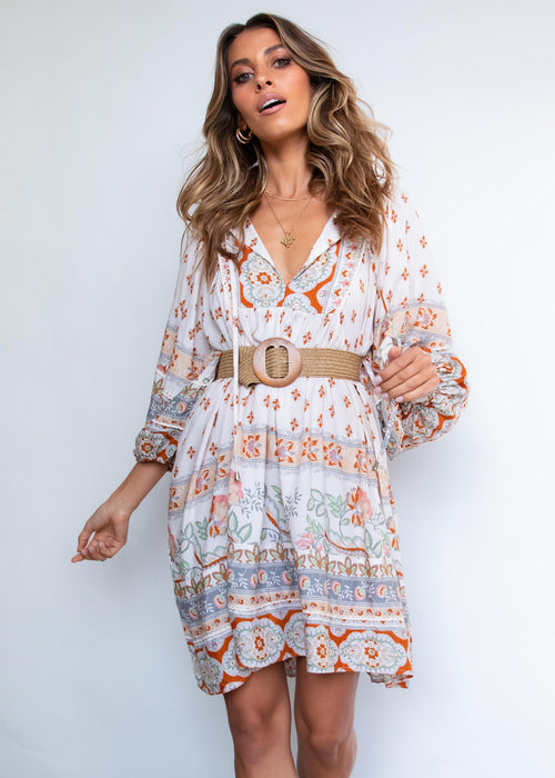 Adela Midi Dress - Peaches