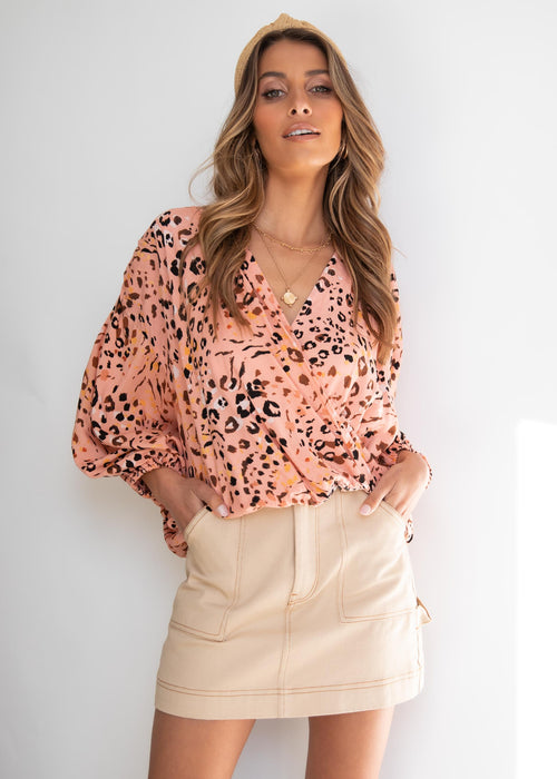 Ellis Blouse - Peach Leopard