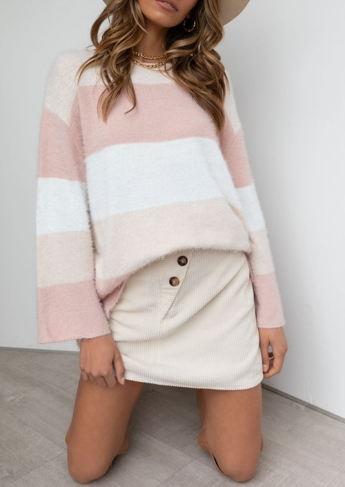 Into Dawn Striped Sweater - Peach/White