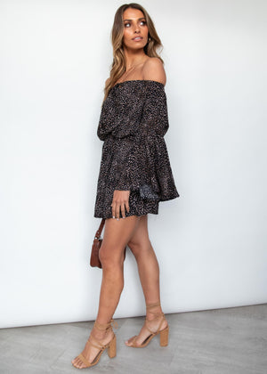 Star Signs Off Shoulder Dress - Black Speck
