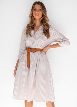 Stasia Shirt Midi Dress - Beige Stripe