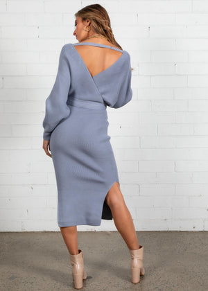 New York Cues Knit Midi Dress - Blue