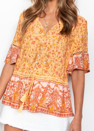 Bonsai Blouse - Apricot Floral